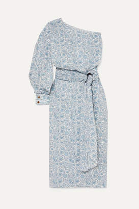 Nackiyé Patmos One-sleeve Floral-print Cotton-poplin Midi Dress