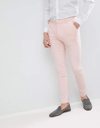 Asos Design Wedding Super Skinny Smart Pants In Peach Velvet