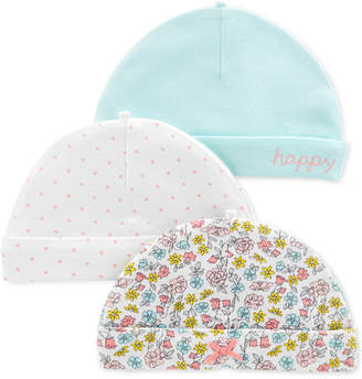 888c4f31b1fe0 Carter s Carter Baby Girls 3-Pack Printed Cotton Hats
