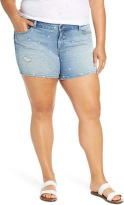 SLINK Jeans Embroidered Daisy Denim Shorts