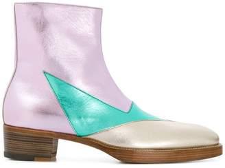 Walter Van Beirendonck colour block ankle boots