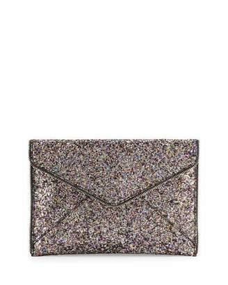Rebecca Minkoff Leo Glitter Envelope Clutch Bag, Silver/Multi