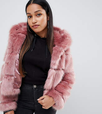 Asos DESIGN Petite hooded faux fur coat