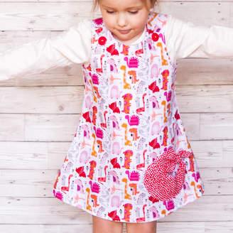 5d2b90e1b Lily & Giraffe Girls Handmade Pink Dinosaur Dress