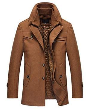 Blend of America Partiss Men's Fashion Winter Attachable Quilted Lined Wool Pea Coat,Chinese XXXL