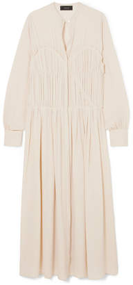 Joseph Jamie Pleated Silk Crepe De Chine Midi Dress - Cream