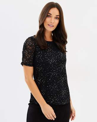 Dorothy Perkins Sequin Ruched Sleeve Lace Top