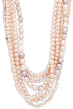 4-8MM Multicolour Semi-Round & Baroque Freshwater Pearl & Sterling Silver Multi-Row Necklace