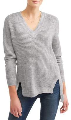 No Comment Women's Slouchy V-Neck Raglan Tunic