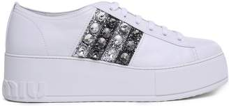 Miu Miu Crystal And Glitter-embellished Leather Platform Sneakers