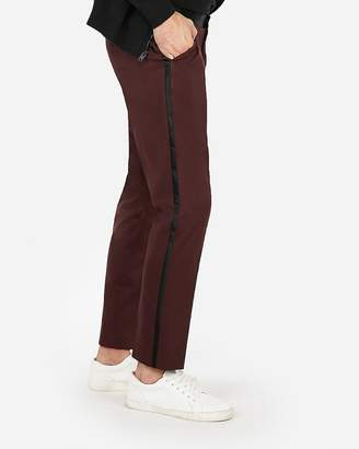 Express Slim Burgundy Satin Accent Cotton Sateen Tuxedo Pant