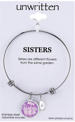 "Unwritten Sisters"" Adjustable Message Bangle Bracelet in Stainless Steel"