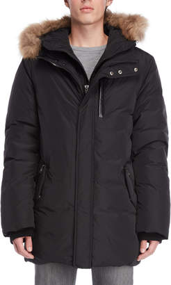 Mackage Black Real Fur Trim Hooded Down Jacket
