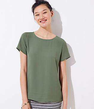 LOFT Pleat Back Clean Tee