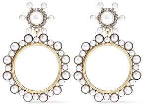 Elizabeth Cole 24-karat Gold-plated, Faux Pearl And Crystal Hoop Earrings