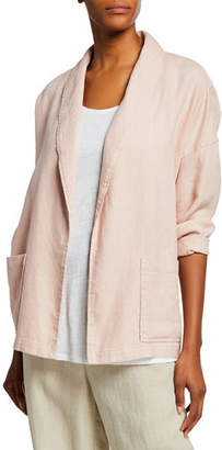 Eileen Fisher Plus Size Organic Linen Shawl-Collar Jacket