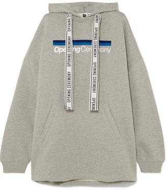 Opening Ceremony Torch Oversized Printed Cotton-jersey Hoodie - Light gray