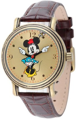 Disney Minnie Mouse Women's Antique Gold Vintage Articulating Alloy Case Watch, Brown Leather Strap