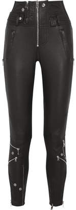 Alexander McQueen - Mesh-trimmed Stretch-leather Skinny Pants - Black