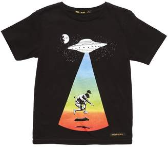 Finger In The Nose Ufo Print Cotton Jersey T-Shirt