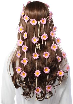 AWAYTR Hippie Headband Flower Crown Wreath- Women Headdress Wedding Hair Accessory