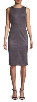 Adrianna Papell Scuba Suede Sheath Dress