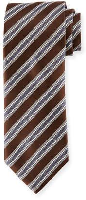 Canali Textured Stripe Silk Tie, Brown