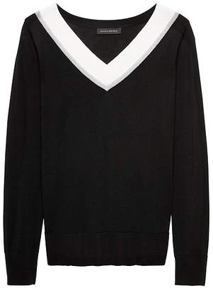 Banana Republic Merino Varsity V-Neck Sweater