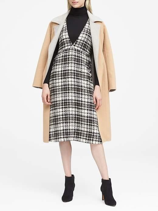 JAPAN ONLINE EXCLUSIVE Italian Tweed Deep V-Neck Pinafore Midi Dress