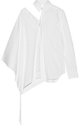 Cutout Pinstriped Cotton-poplin Shirt - White