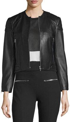 rag & bone/JEAN Astor Leather Zip-Front Jacket, Black $388 thestylecure.com