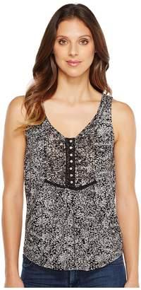 Lucky Brand Black White Printed Tank Top Women's Sleeveless