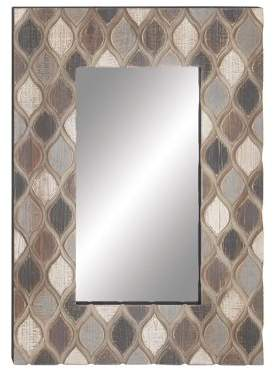 Decmode Rustic Rectangular Wood And Glass Wall Mirror, Multiple