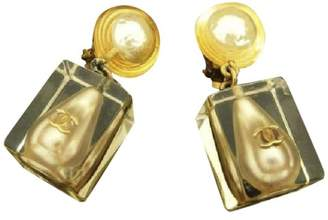 Chanel Gold Tone Hardware Simulated Glass Pearl Earrings