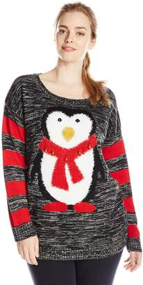 Original Penguin Derek Heart Junior's Plus-Size with Jingle Bells Ugly Christmas Sweater