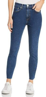 Rag & Bone High-Rise Raw-Edge Ankle Skinny Jeans in Dark Stone
