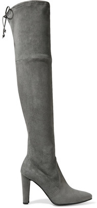 Stuart Weitzman - Highstreet Stretch-suede Over-the-knee Boots - Gray $800 thestylecure.com