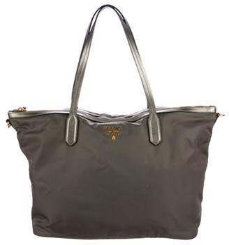 Prada Leather-Trimmed Tote
