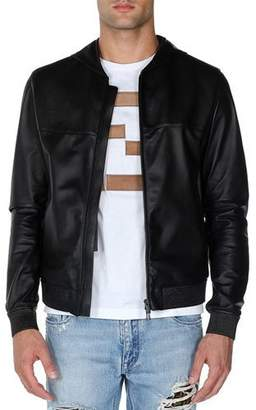 Fendi Embossed Logo Hooded Leather Jacket