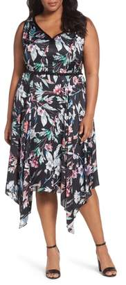 Adrianna Papell Print Satin Chiffon Handkerchief Dress