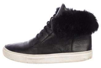Vince Fur-Trimmed Leather Sneakers