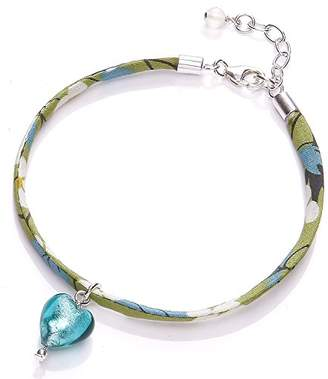 Glass Heart Amanti Venezia Liberty Ribbon and Sterling Silver Bracelet with Teal Murano of Length 18-21 cm