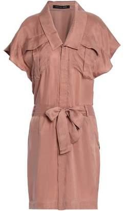 Marissa Webb Belted Sateen Mini Shirt Dress