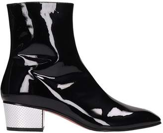 Christian Louboutin Black Patent Leather Palace Ankle Boots