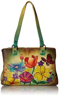 Anuschka Anna by Genuine Leather Multi pockets Organizer Handbag | Hand-Painted Original Artwork |