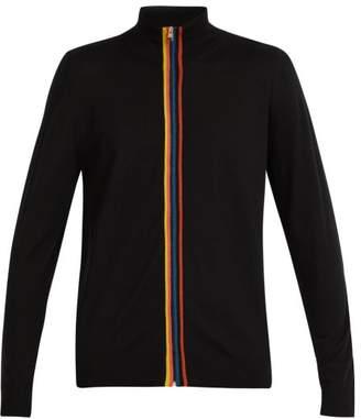 Paul Smith Artist Stripe Zip Through Wool Sweater - Mens - Black Multi