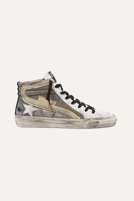 Golden Goose Slide Distressed Suede-trimmed Leather And Lurex High-top Sneakers - Gunmetal