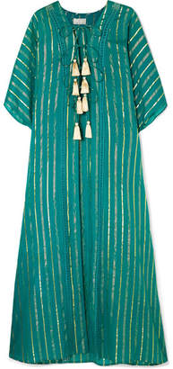 Miguelina Adria Striped Tasseled Fil Coupé Cotton-blend Voile Kimono - Emerald