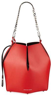 Alexander McQueen The Bucket Shiny Calf Shoulder Bag - Silvertone Hardware