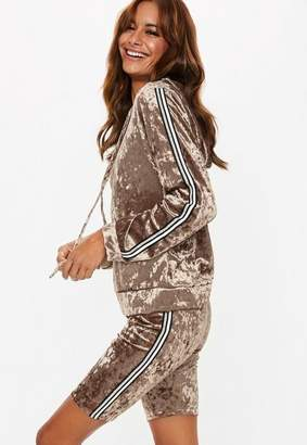 Missguided mink crushed velvet cropped hoodie set, Champagne